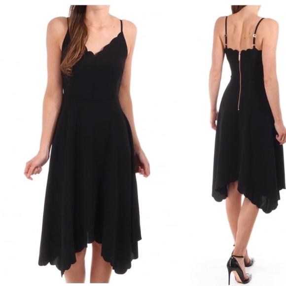 Ted Baker 2 Simbah Scallop Assymmetric Dress Black